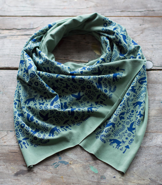 Green Bamboo Jersey Woodland Scarf
