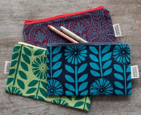 canvas zipper pouch, blue hand-printed flower chain pattern