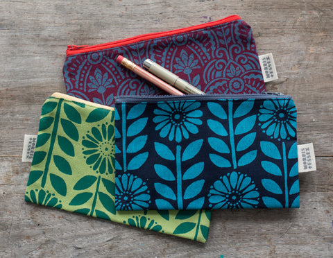 Wholesale - Hand-Printed Canvas Zipper Pouch