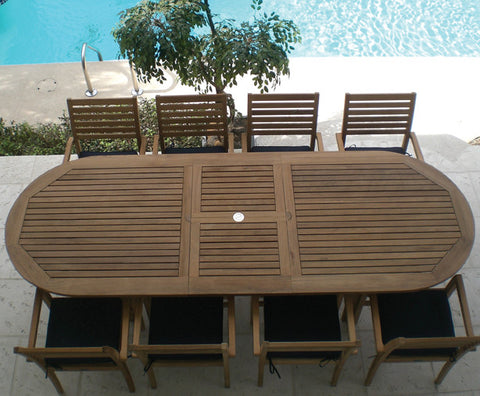 Royal Teak Collection Family Expansion Table Outdoor Dining Set