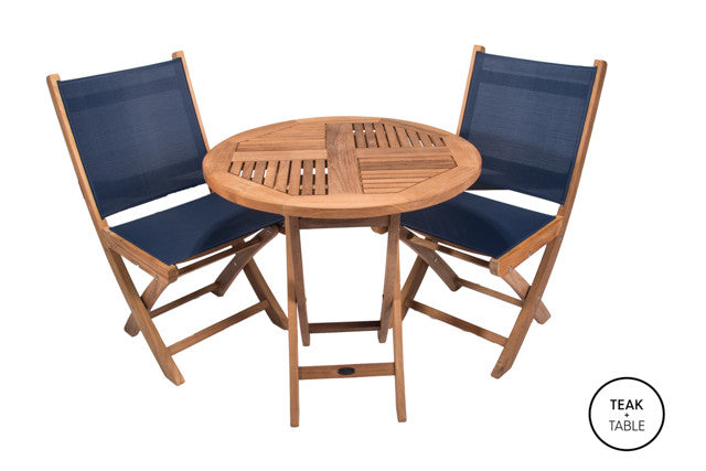 "30"" Sailor Folding Table and Sailmate Chairs (3pc Set)"