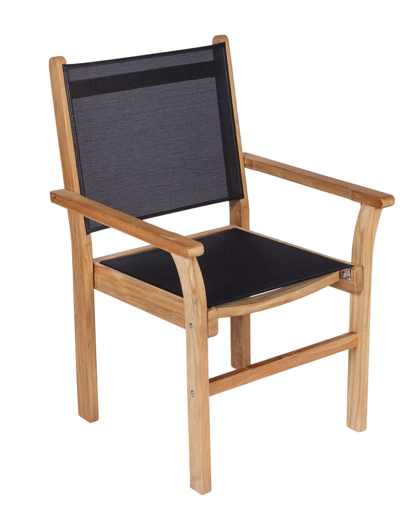 Royal Teak Collection Captiva Stacking Dining Chair - Black Sling
