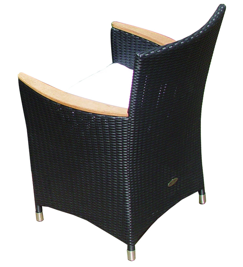 Royal Teak Collection Helena Full Weave Dining Chair - Black Wicker