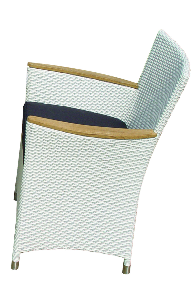 Royal Teak Collection Helena Full Weave Dining Chair - White Wash Wicker