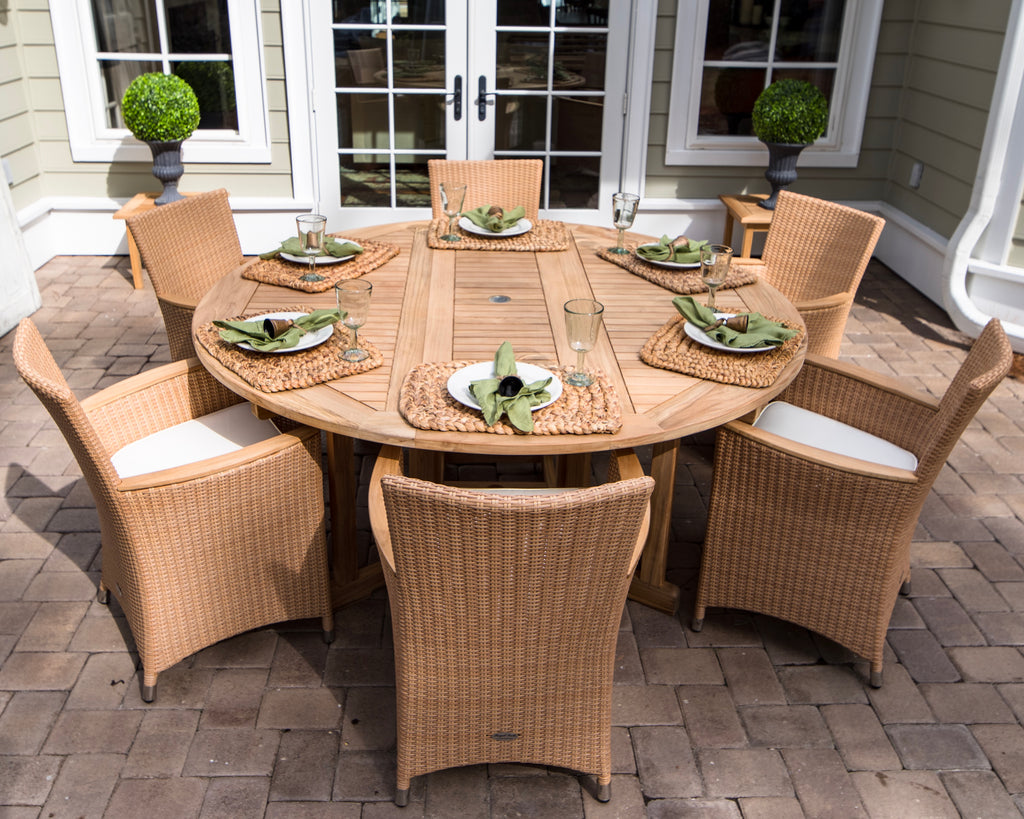 Royal Teak Collection Helena Dining Set with Drop Leaf Round Teak Table
