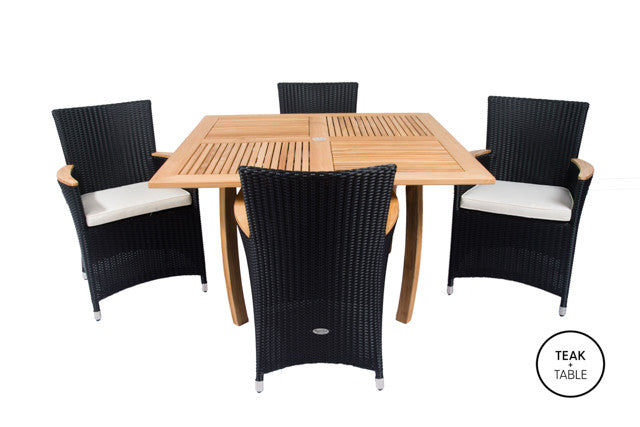 "50"" Square Dolphin Dining Table and Full Basket Weave Helena Dining Chairs(5pc Set)"