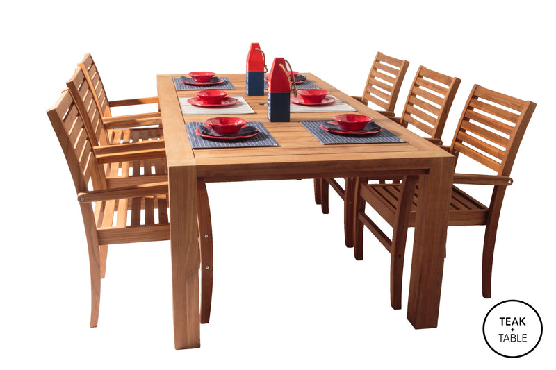 "Comfort 96"" Table and Avant Stacking Dining Chairs(7pc Set)"