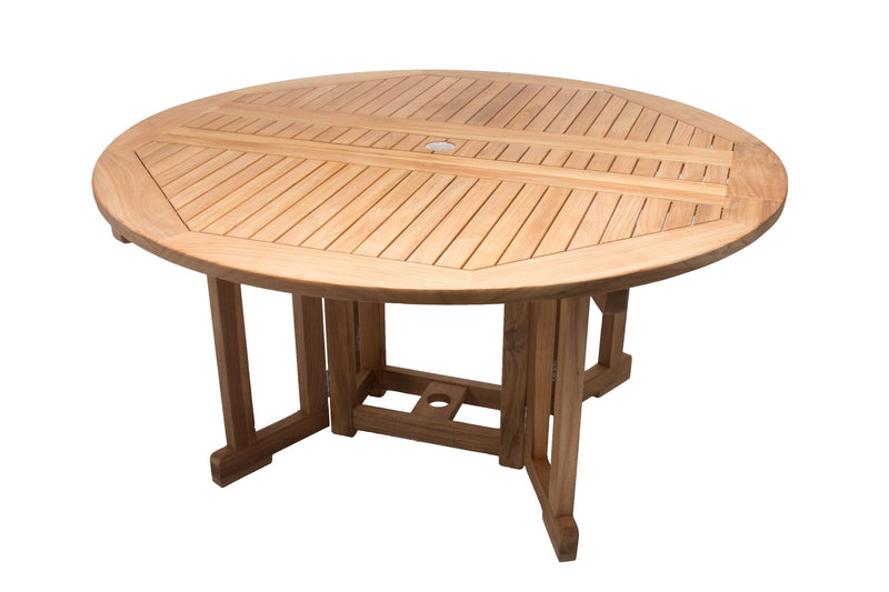 Royal Teak Collection Outdoor Round Teak Drop Leaf Dining Table