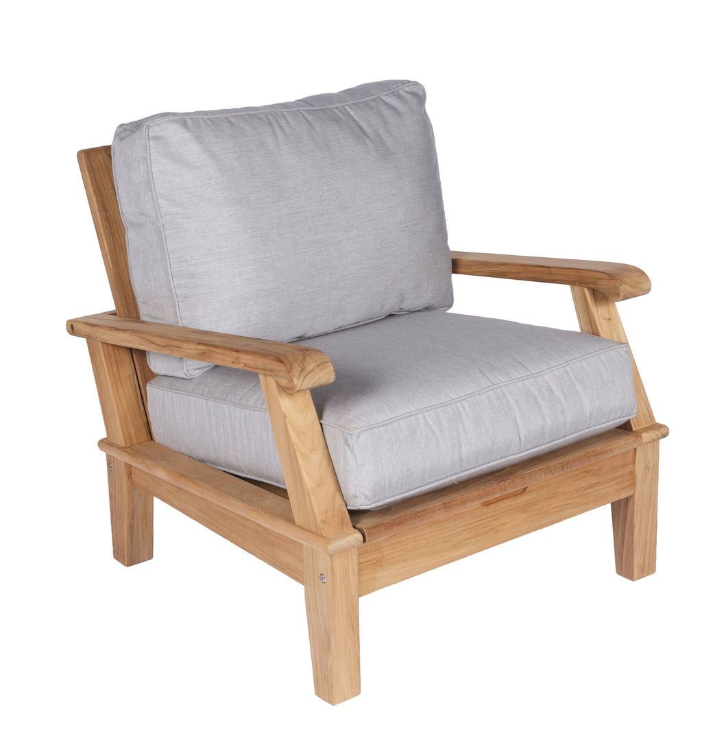 Royal Teak Collection Miami Club Chair Sunbrella Canvas Granite Cushion