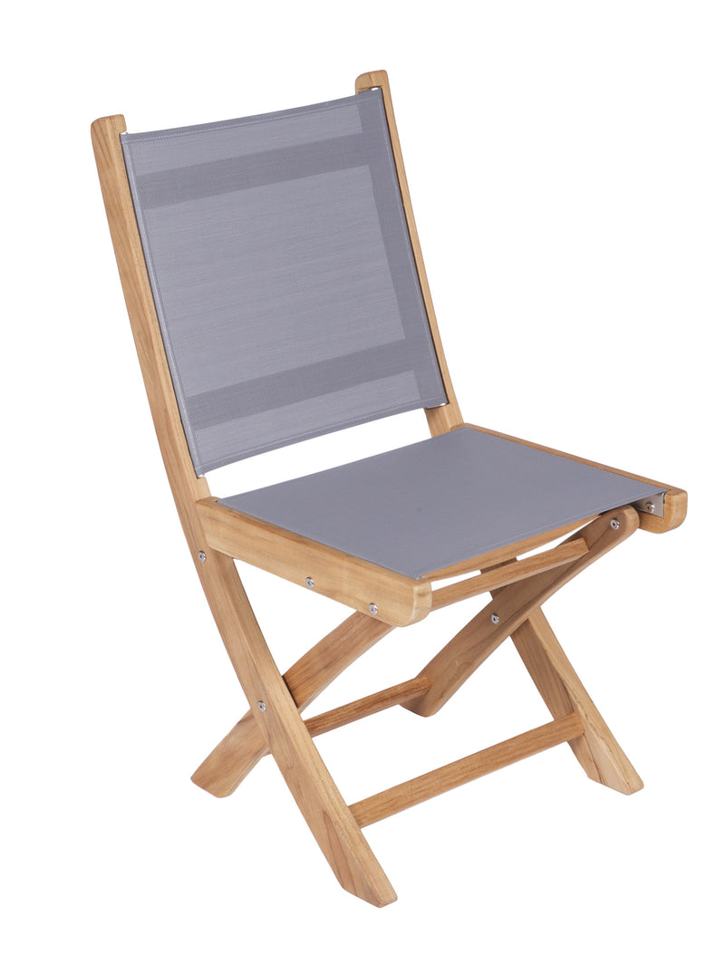 Royal Teak Collection Sailmate Folding Side Chair - Grey Sling