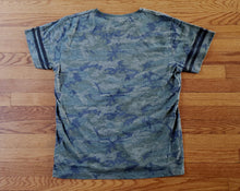 Load image into Gallery viewer, Ladies Camo Football Tee