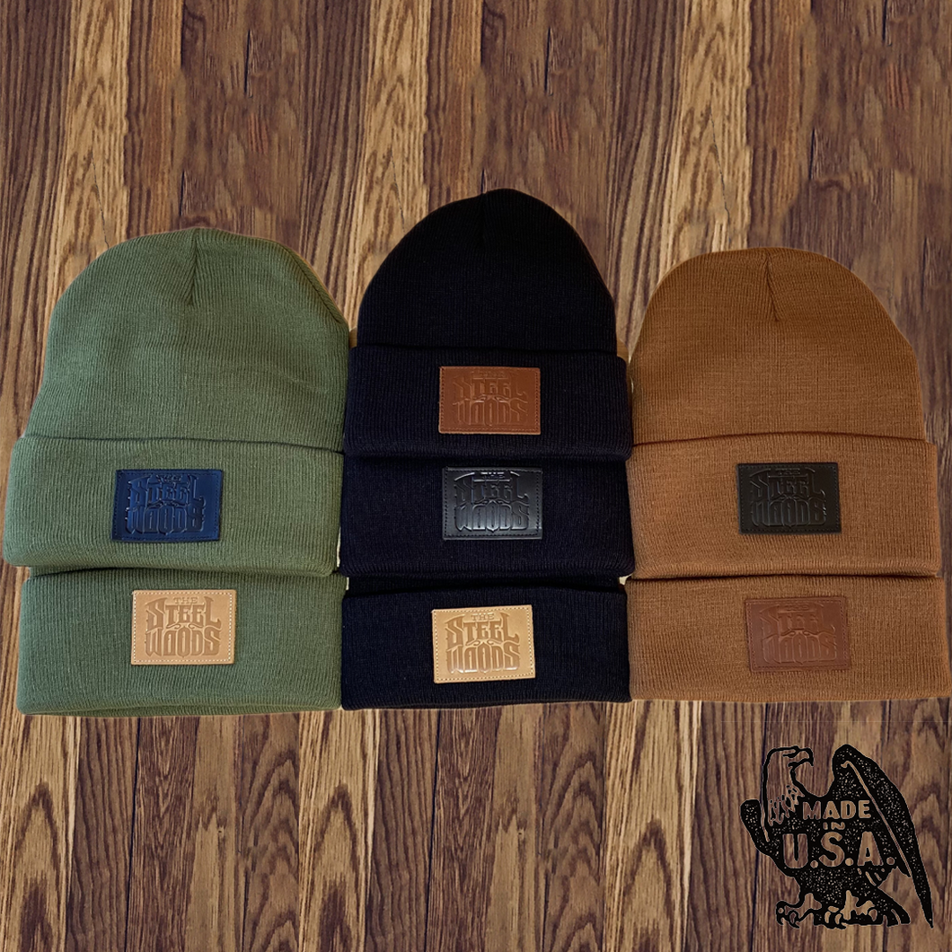 Leather Patched Beanie - Made in USA (7 Color Combinations)
