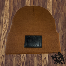 Load image into Gallery viewer, Leather Patched Beanie - Made in USA (7 Color Combinations)