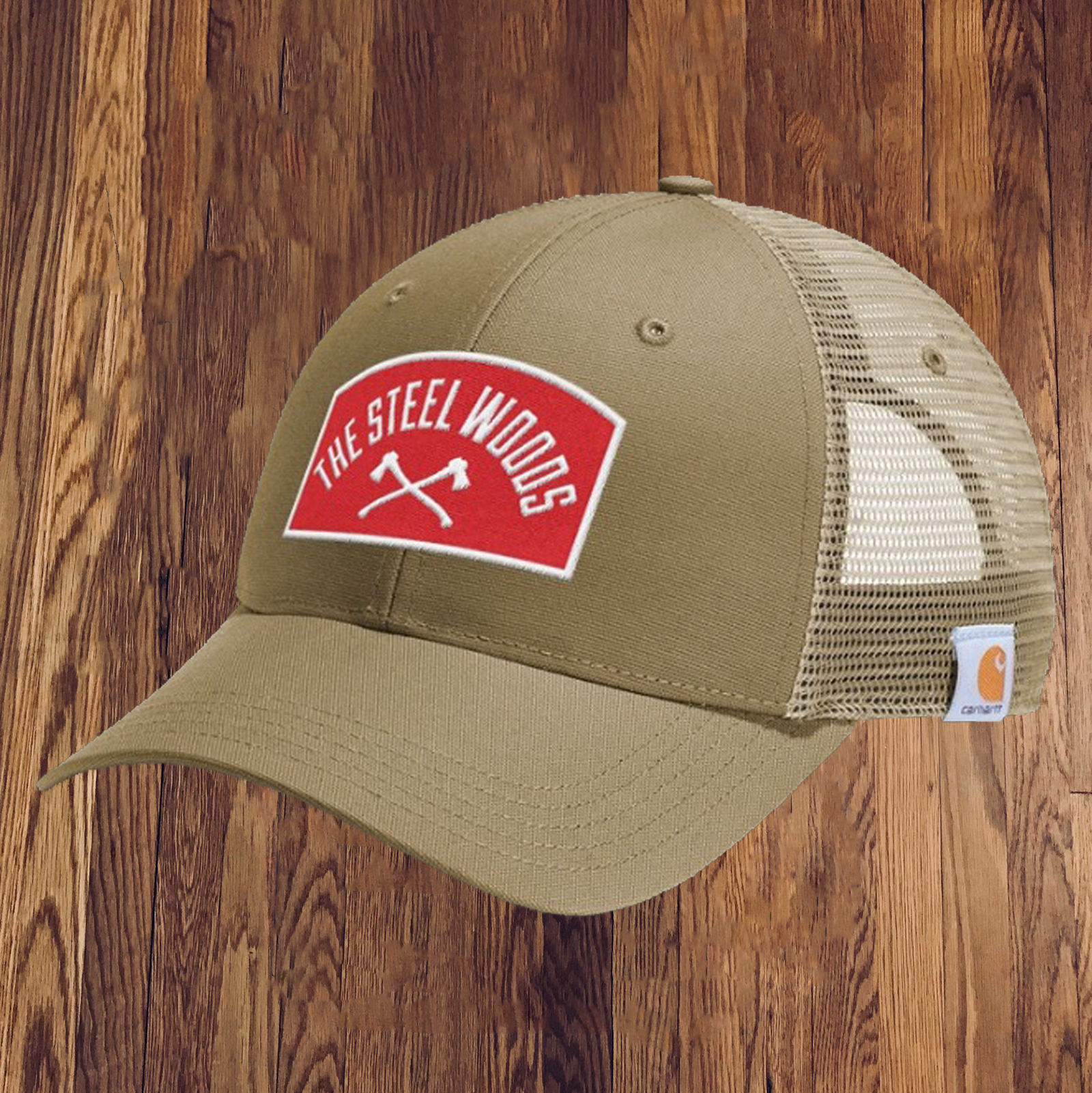 The Steel Woods Dark Khaki Patch Hat