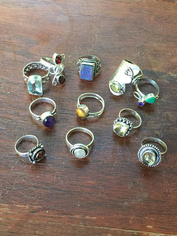 Silver Gemstone Rings, Samples Package of Assorted Shapes, Colors and Sizes, Boho Hippie and Dainty Style Trends (Pack of 1) Select Size