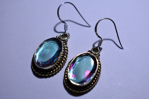 Rainbow Mystic Topaz Faceted Cut .925 Sterling Silver Earrings 1 1/2""