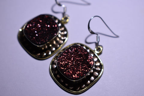 Dark Red Square Faceted Cut .925 Sterling Silver Earrings 1 1/2""