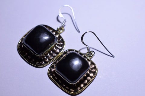 Grey Gunmetal Hematite Gun Metal Black Square Cabochon Cut .925 Sterling Silver Earrings 1 1/2""