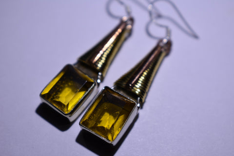 Yellow Golden Topaz Square Faceted Cut .925 Sterling Silver Earrings 1 1/2""