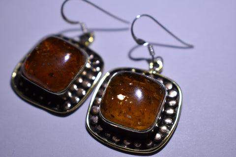 Orange Amber Square Cabochon Cut .925 Sterling Silver Earrings 1 1/2""