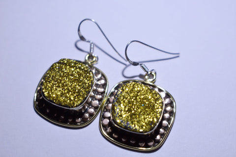 Yellow Druzy Square Faceted Cut .925 Sterling Silver Earrings 1 1/2""