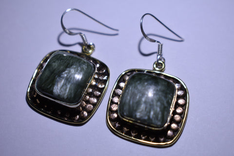Green White Seraphinite Square Cabochon Cut .925 Sterling Silver Earrings 1 1/2""