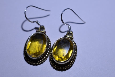 Yellow Lemon Topaz Oval Faceted Cut .925 Sterling Silver Earrings 1 1/2""