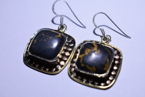 Black Copper Turquoise Splattered Square Cabochon Cut ,925 Sterling Silver earrings 1""