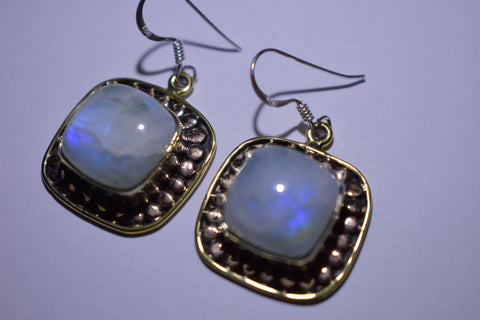 White Rainbow Moonstone Square Cabochon Cut .925 Sterling Silver earrings 1 1/2""