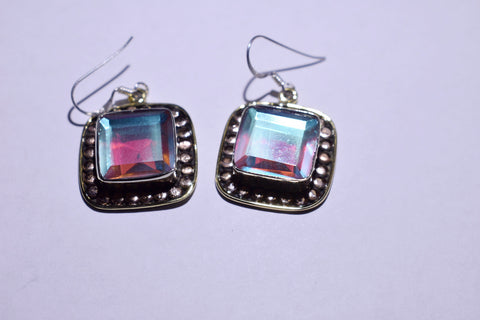 White Mystic Fluorite Square Faceted cut .925 sterling silver earrings 1 1/2'