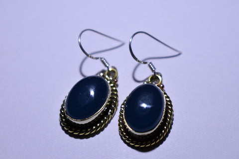 Dark Blue Iolite Oval Cabochon Cut .925 Sterling Silver Earrings 1 1/2""