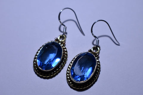 Blue Topaz Oval Faceted Cut .925 Sterling Silver Earrings 1 1/2""