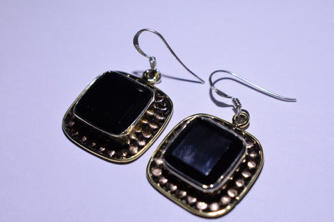 Red Garnet Square Faceted Cut .925 Sterling Silver Earrings 1 1/2""