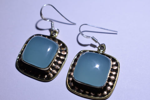 Blue Chalcendony Square Cabochon Cut .925 Sterling Silver Earrings 1 1/2""