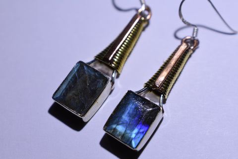 Gray Labradorite Square Cabochon Cut .925 Sterling Silver Earrings 1 1/2""
