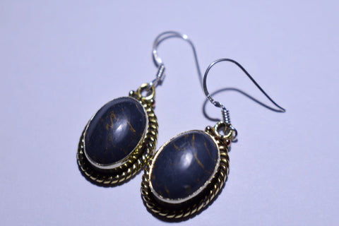 Black Copper Turquoise Oval Cabochon Cut .925 Sterling Silver earrings 1 1/2""