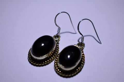 Black Onyx Black Oval Cabochon Cut .925 Sterling Silver Earrings 1 1/2""