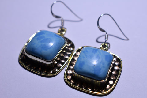 Blue Larimar Square Cabochon Cut .925 Sterling Silver Earrings 1 1/2""
