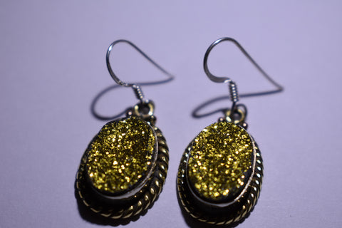Yellow Druzy Oval Faceted Cut .925 Sterling Silver Earrings 1 1/2""