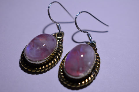 Pink Oval Cabochon Cut .925 Sterling Silver Earrings 1 1/2""
