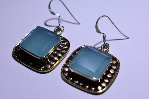 Blue Chalcedony Square Faceted Cut .925 Sterling Silver earrings 1 1/2""