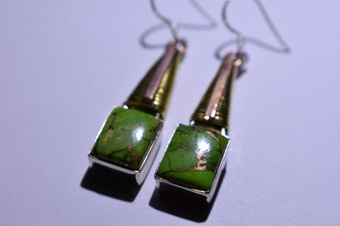 Green Copper Turquoise Square Cabochon Cut .925 Sterling Silver Earrings 1 1/2""
