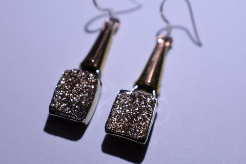 Brown Square Faceted Cut .925 Sterling Silver Earrings 1 1/2""