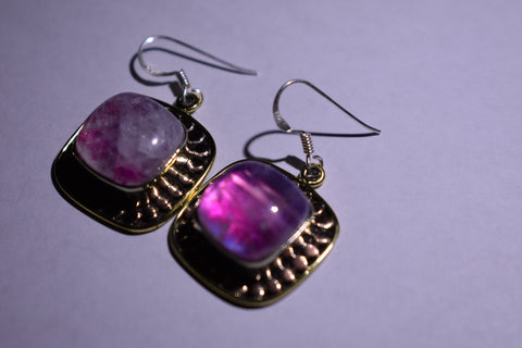 Pink Rainbow Moonstone Square Cabochon cut .925 sterling silver earrings 1 1/2'