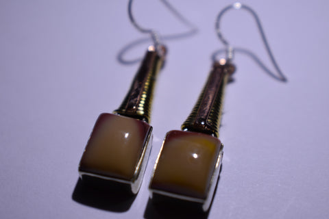 Brown Mookalite Square Cabochon Cut .925 Sterling Silver Earrings 1 1/2""