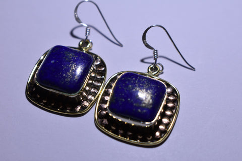 Blue Lapis Square Cabochon Cut .925 Sterling Silver Earrings 1 1/2""