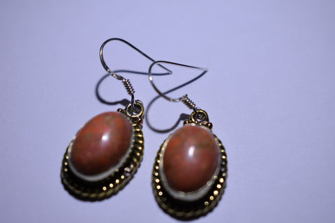 Orange Copper Turquoise Oval Cabochon Cut .925 Sterling Silver Earrings 1 1/2""