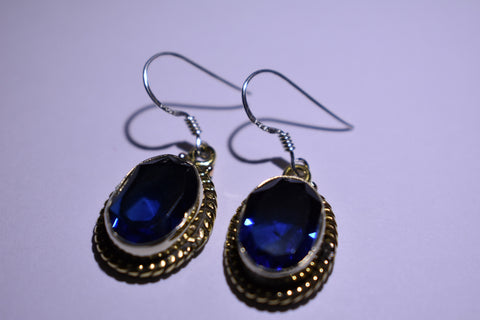 Blue Fluorite Oval Faceted Cut .925 Sterling Silver Earrings 1 1/2""