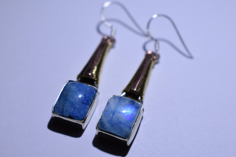 Blue Moonstone Square Cabochon Cut .925 Sterling Silver Earrings 1 1/2""