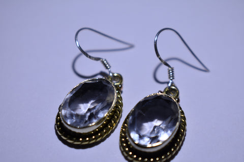 White Topaz Oval Faceted Cut .925 Sterling Silver Earrings 1 1/2""